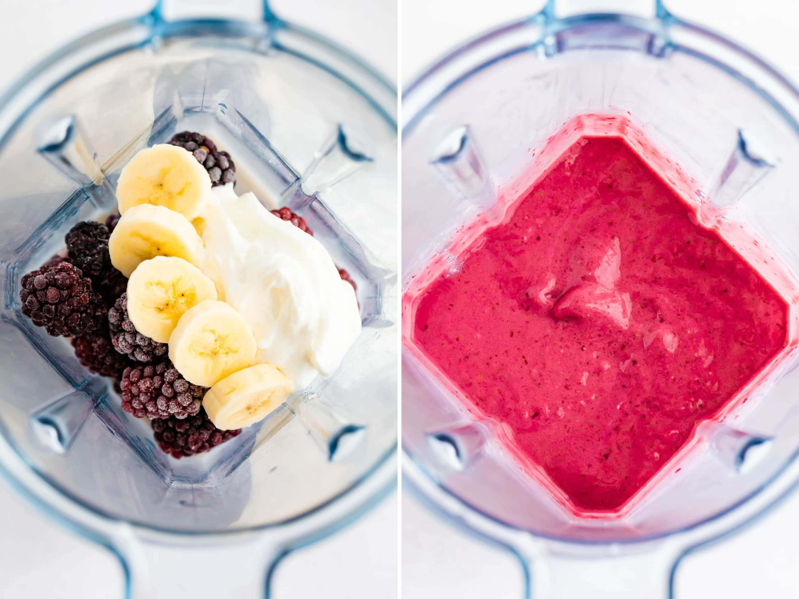 Side by side photo of a blackberry smoothie before and after being blended.