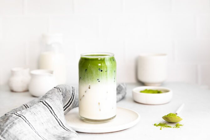 Iced matcha latte in a glass.