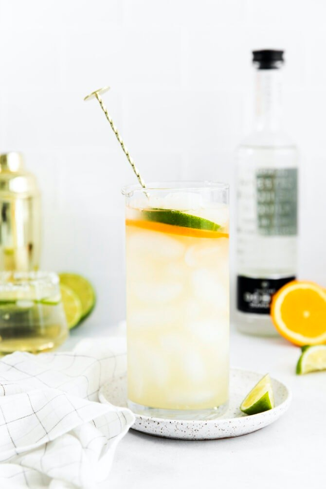 Skinny margarita in a tall glass with a cocktail stirrer.