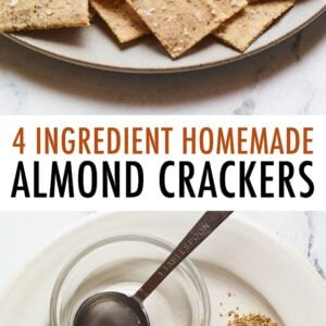 Plate of almond flour crackers with a bowl of hummus. Second photo is of water, sea salt, flaxseed and almond flour measured out on a plate.