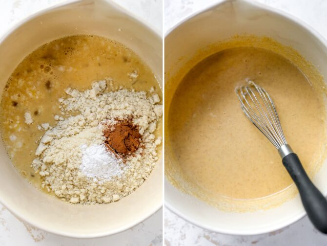 Side by side photos of a mixing bowl with pancake batter ingredients before and after being whisked.