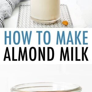 Two photos. The first is a person pouring almond milk from a glass bottle into a glass. The second is a glass jar with almonds soaking in water.