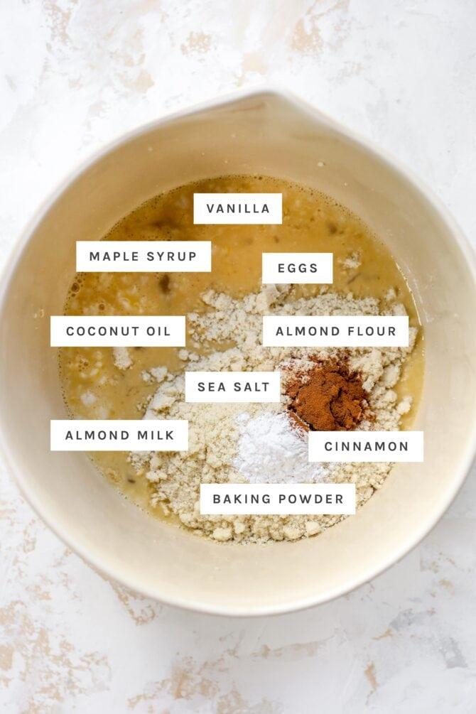 Mixing bowl with ingredients labeled to make almond flour pancake batter.