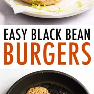 Black bean burger on a bun with lettuce, tomato, onion, ketchup, mustard and pickles. Second photo of two black bean burgers frying in a pan.