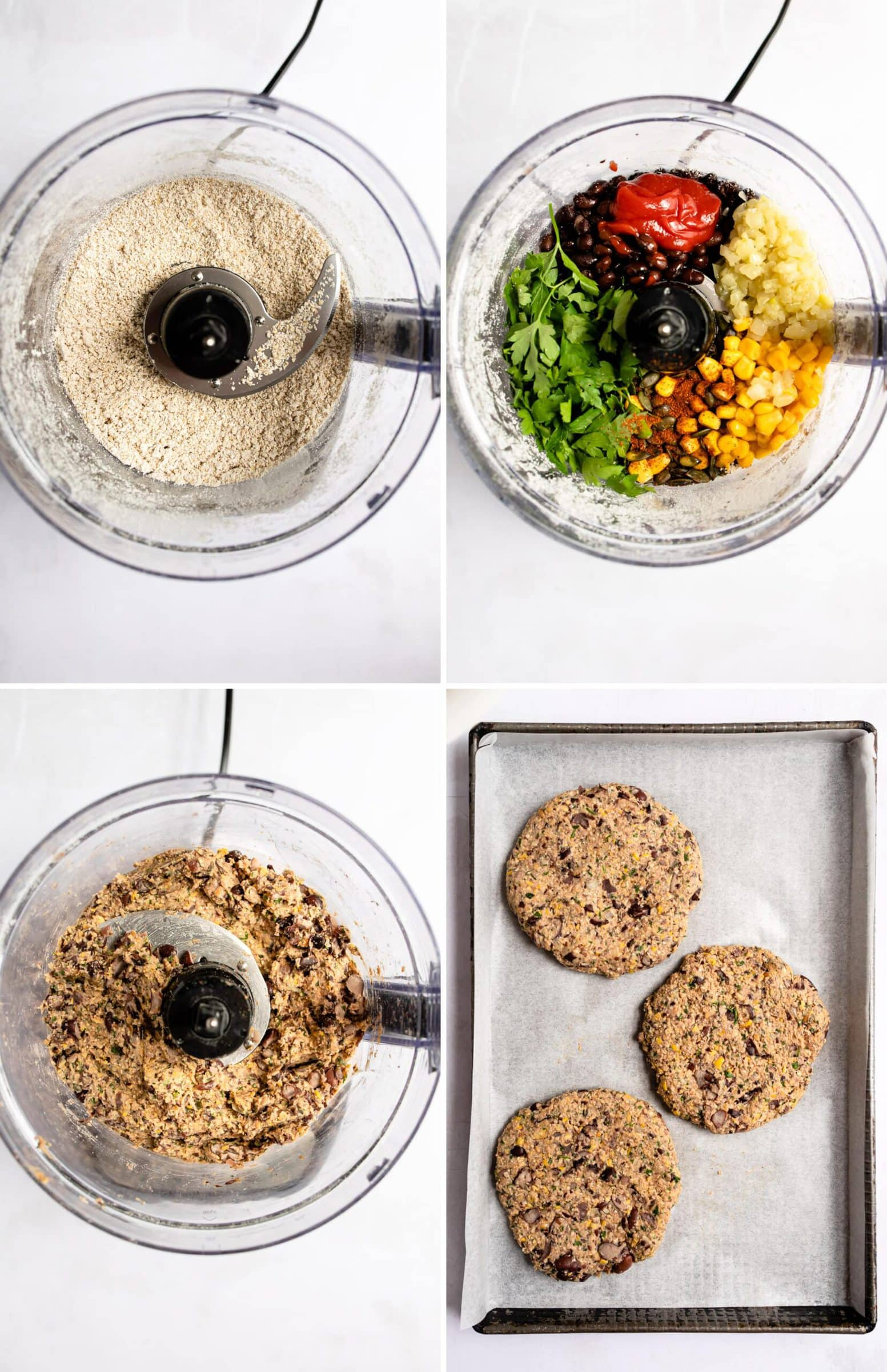 Four process photos showing how to make black bean burgers by pulsing oats, adding veggies and beans and then shaping into burger patties.