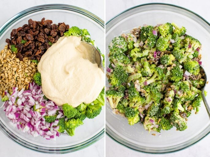 A side by side image with vegan broccoli salad ingredients not mixed and then mixed.