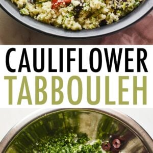 Top photo is a bowl of cauliflower tabbouleh. The photo below is a mixing bowl with cauliflower rice, kalamata olives, cucumber, herbs and tomatoes before being mixed.