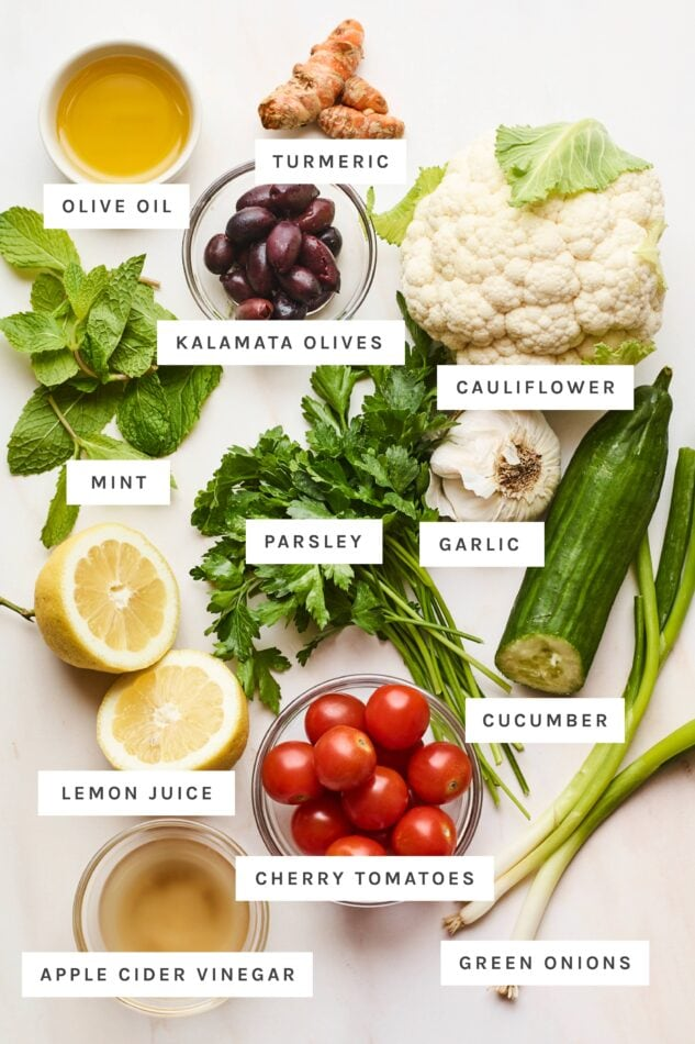 Ingredients to make cauliflower tabbouleh with text labels.