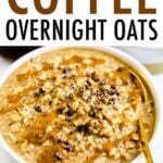 Bowl of coffee overnight oats with a spoon.