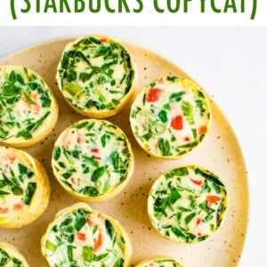 Plate with spinach and red pepper egg white bites.