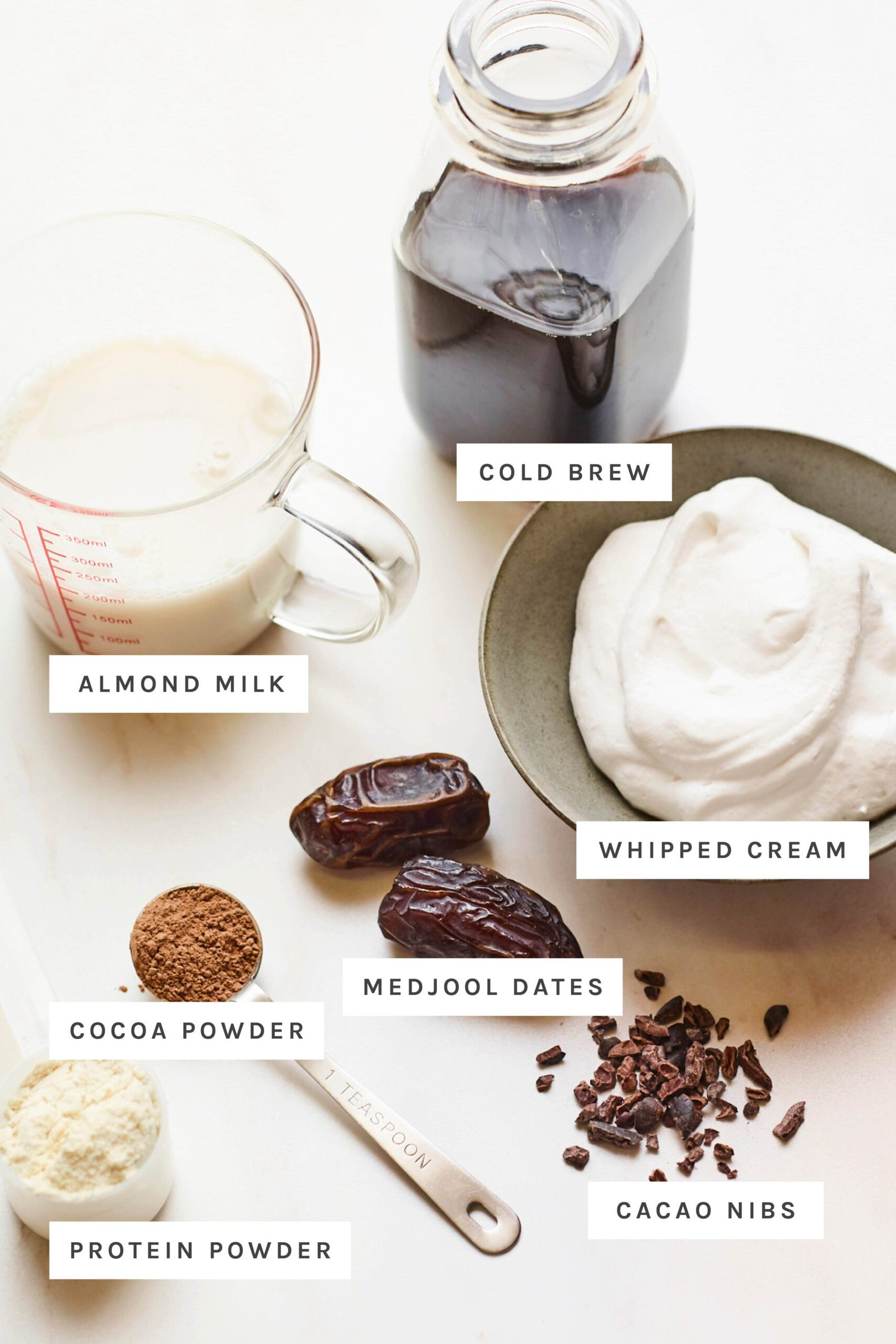 Ingredients measured out to make a healthy frappuccino.