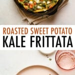 Sweet potato kale goat cheese frittata in a skillet. Another photo of a slice of frittata on a plate with a fork.