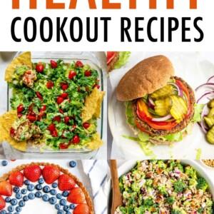 Collage of layer dip, bean burger, fruit tart and broccoli salad.
