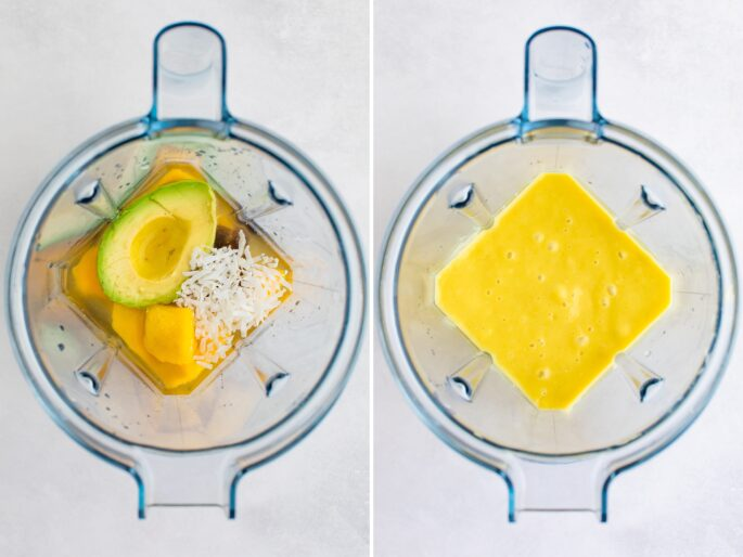 Side by side photos of ingredients for an avocado mango smoothie in a blender before and after being blended.