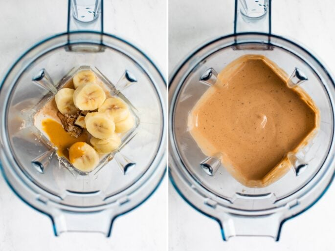 Side by side photos of blenders: the first is a blender with peanut butter, banana, chocolate protein powder and milk. The second is a blended peanut butter chocolate smoothie.