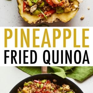Pineapple boat full of pineapple fried quinoa. Second photo is the fried quinoa in a skillet.