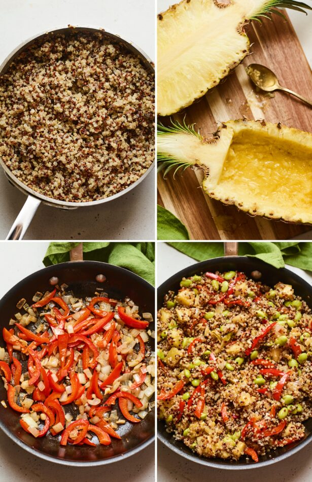 Four photos. Pot of quinoa, hollowed out pineapple halves, skillet with peppers and onion, and lastly skillet with pineapple fried quinoa.