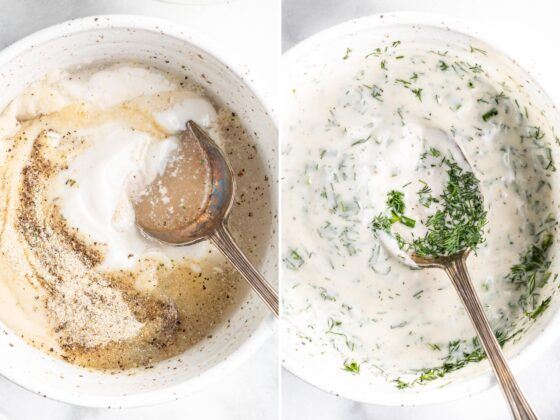Side by side photos showing a spoon mixing together a Greek yogurt ranch dressing in a bowl.