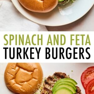 Spinach and feta turkey burger on a bun with avocado, onions, tomatoes and sprouts. Another photo of two burgers without a top bun and getting toppings.