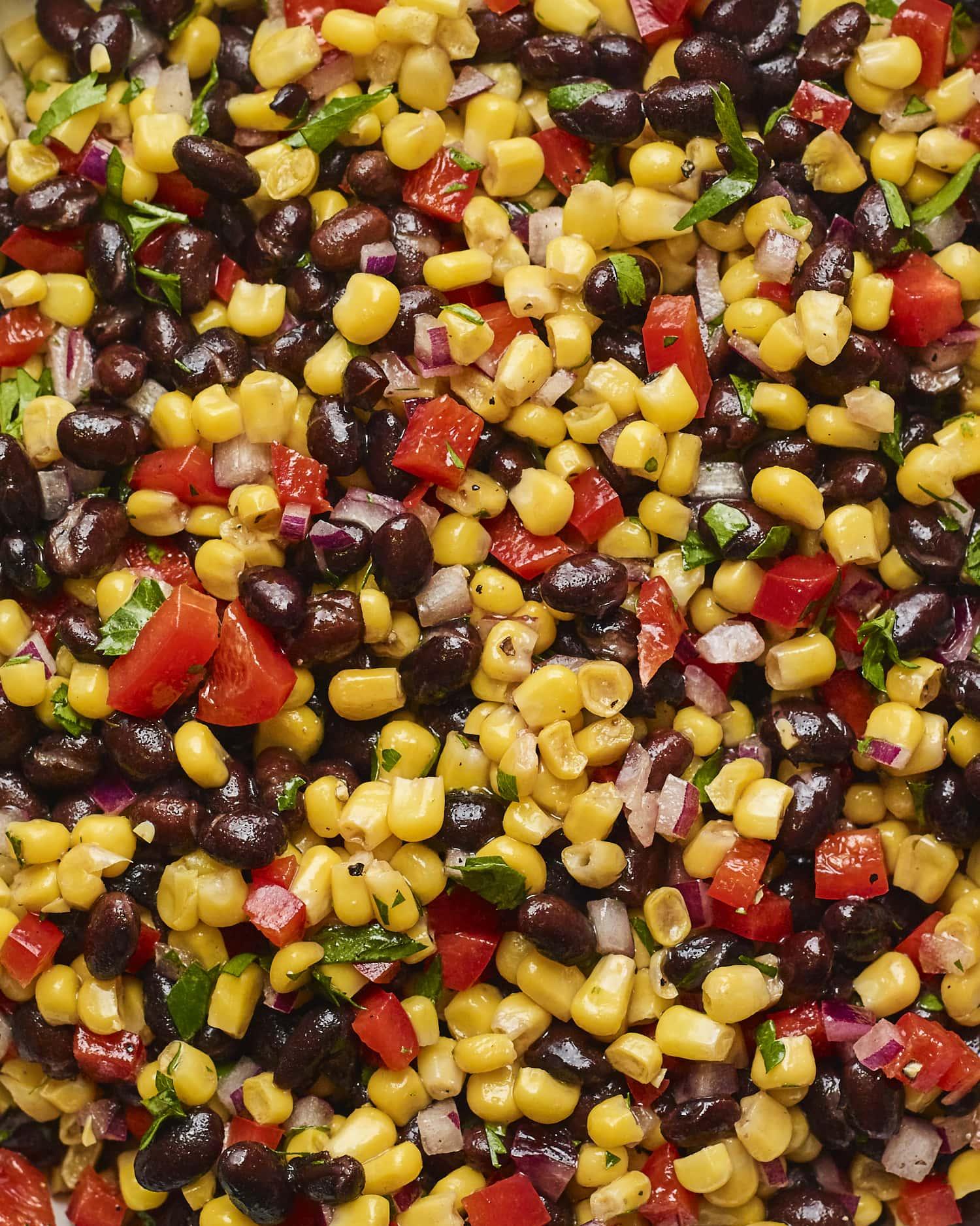 Close up photo of black bean and corn salad.