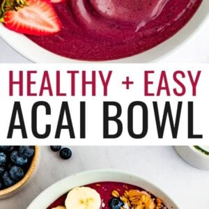 Acai bowl topped with banana, blueberries, strawberries, granola and peanut butter.
