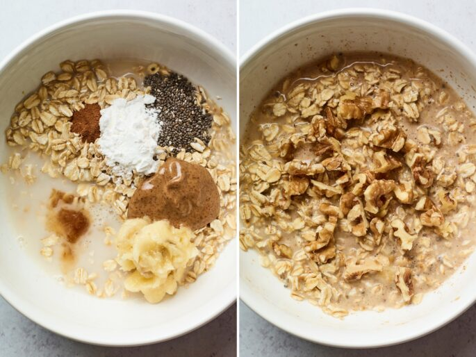 Side by side photos of a mixing bowl in the process of making the mixture for banana baked oatmeal.