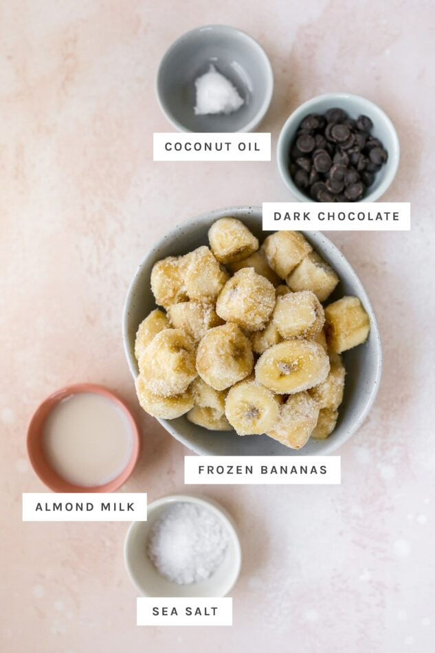 Coconut oil, dark chocolate chips, frozen banana, almond milk and sea salt measured out in bowls.
