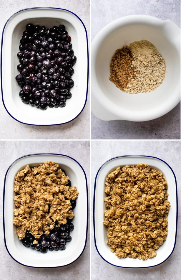 Collage of four photos showing the process of making blueberry crumble. Putting blueberries at the bottom of a baking dish, making the crumble topping with almond meal, pecans and oats, and then covering the blueberries with the crumble mixture.