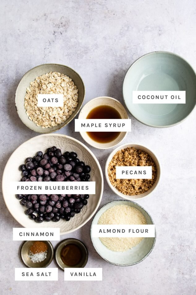 Ingredients measured out to make blueberry crumble.