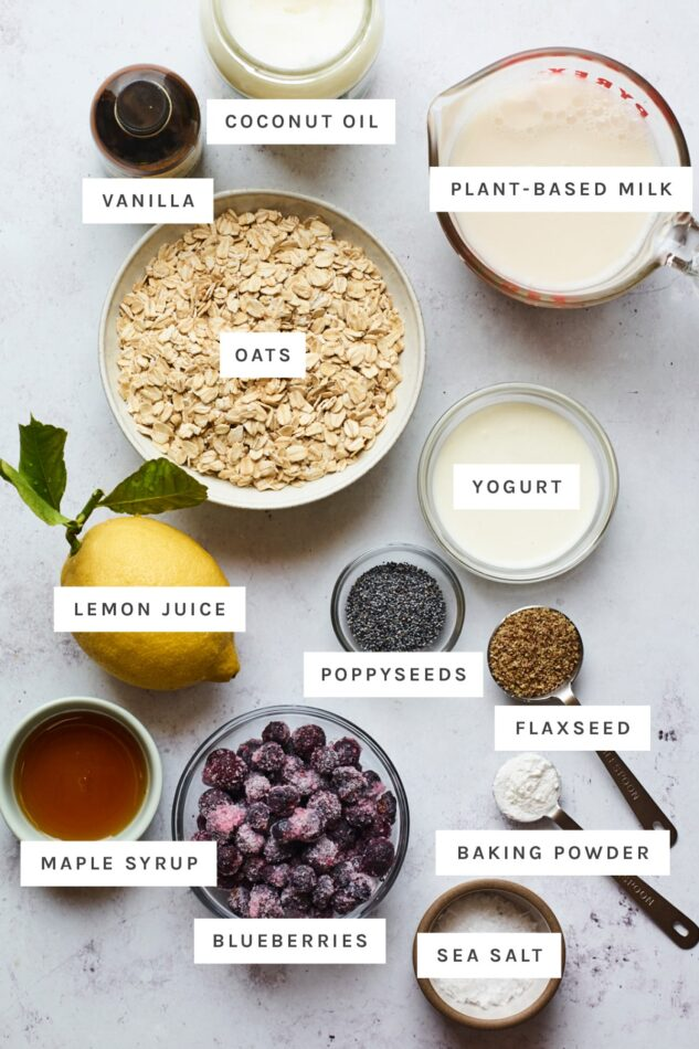 Ingredients measured out in bowls to make blueberry lemon baked oatmeal.