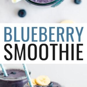 Blueberry smoothie topped with blueberries and a straw.