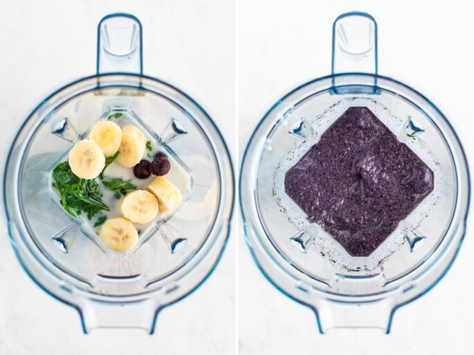 Side by side photos. The first is almond milk, banana, blueberries and greens in a blender. The second photo is a blended blueberry smoothie in a blender.
