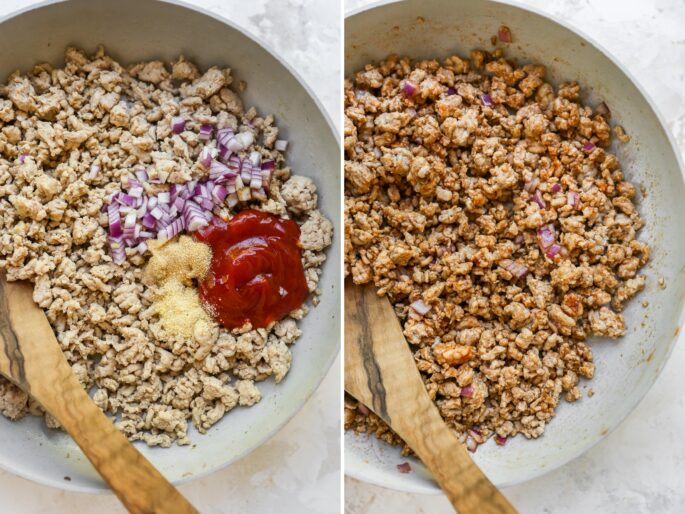 Side by side photos. The first is ground turkey in a pan with garlic powder, onion and ketchup on top. The second photo is the seasonings mixed into the ground turkey.
