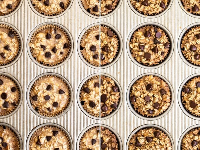 Chocolate chip baked oatmeal cups in a muffin tin, before and after being baked.