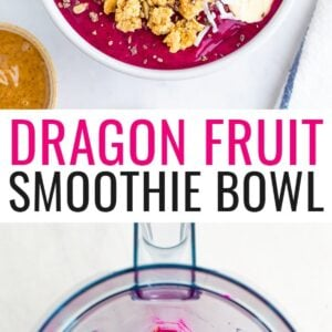 Dragon fruit smoothie bowl topped with granola, banana slices and a strawberry. Second photo is of the blended dragon fruit smoothie bowl mixture in a blender.
