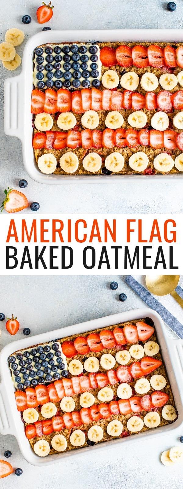 دقيق الشوفان المخبوز مزين ليبدو مثل العلم الأمريكي مع العنب البري وشرائح الموز والفراولة.
