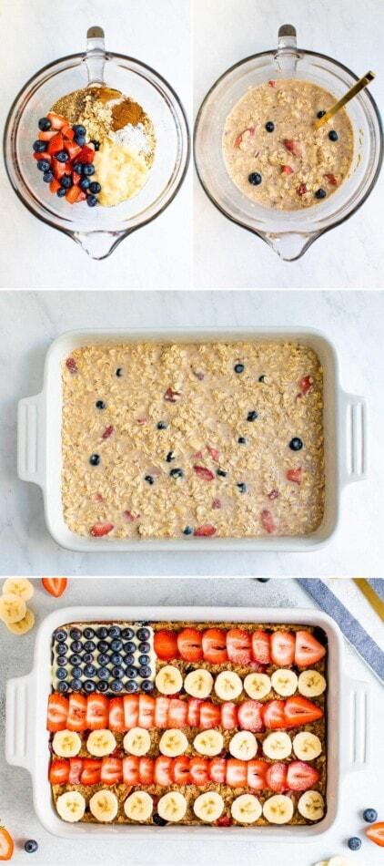 صور مجمعة توضح عملية كيفية صنع دقيق الشوفان المخبوز ، من خلط العجين والخبز والتزيين مثل العلم الأمريكي مع التوت.