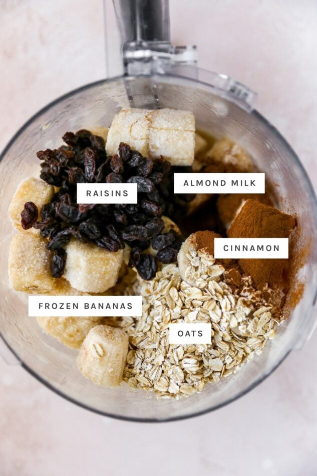 Frozen banana, raisins, cinnamon and oats in a food processor before being blended.