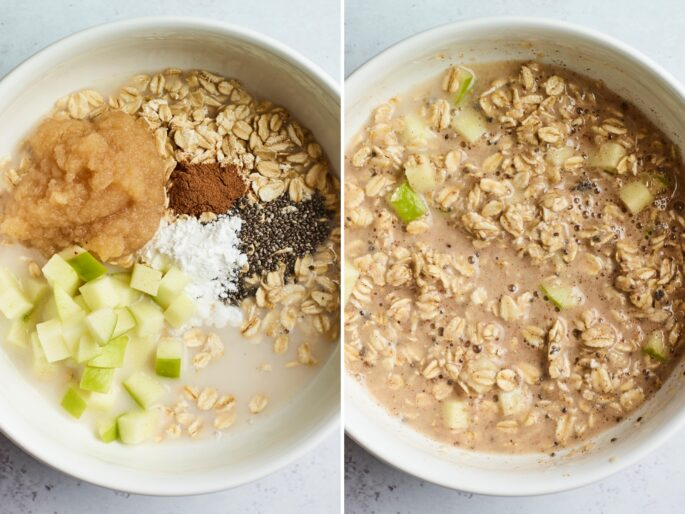 Side by side photos of a mixing bowl in the process of making the mixture for apple baked oatmeal.