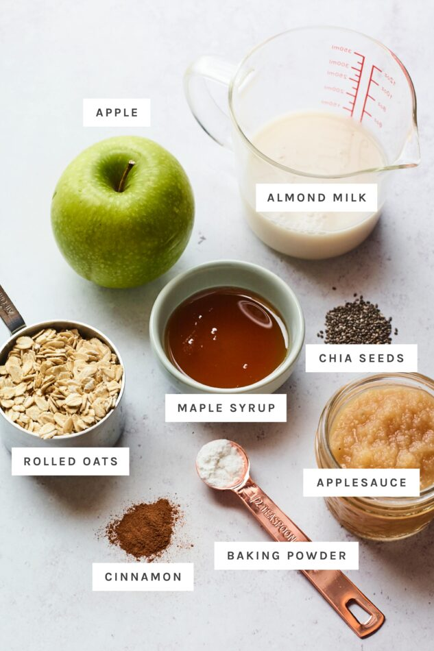 Ingredients measured out to make apple cinnamon baked oatmeal.