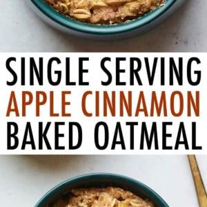 Bowl of apple cinnamon baked oatmeal.