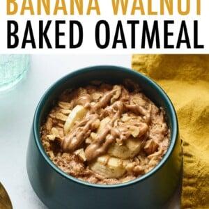 Bowl of banana walnut baked oatmeal.