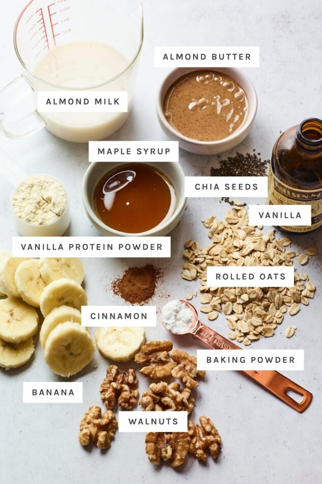 Ingredients measured out to make banana walnut baked oatmeal.