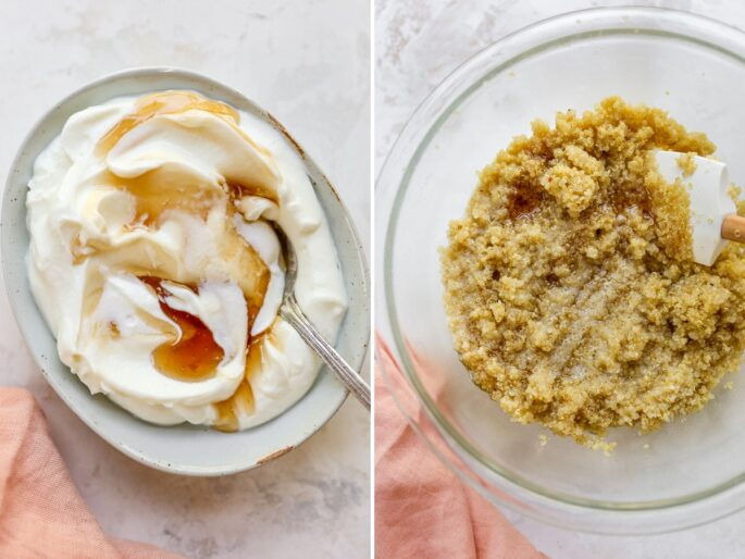 Two photos. The first is a bowl of yogurt with maple syrup. The second is a bowl of quinoa.