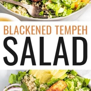 Salad topped with blackened tempeh, tahini dressing, peppers, onions, avocado and quinoa.