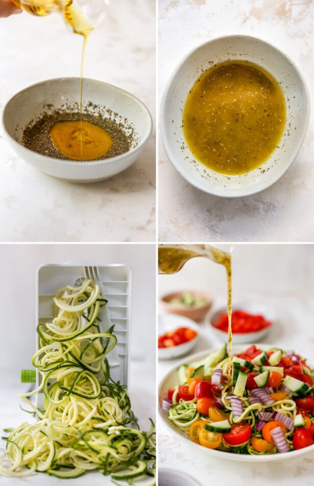 Collage of 4 photos: two showing making homemade italian dressing, zucchini noodles being made and a zoodle salad with dressing being poured over the salad.