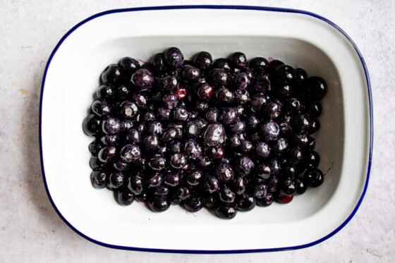 Blueberries in a baking dish.