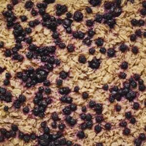 Blueberry lemon baked oatmeal close up photo.