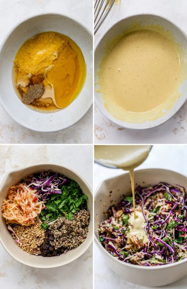 A collage with process shots for how to make apple slaw. One with dressing ingredients in a bowl, dressing whisked together, a bowl of slaw ingredients and then a shot with the dressing being poured on.