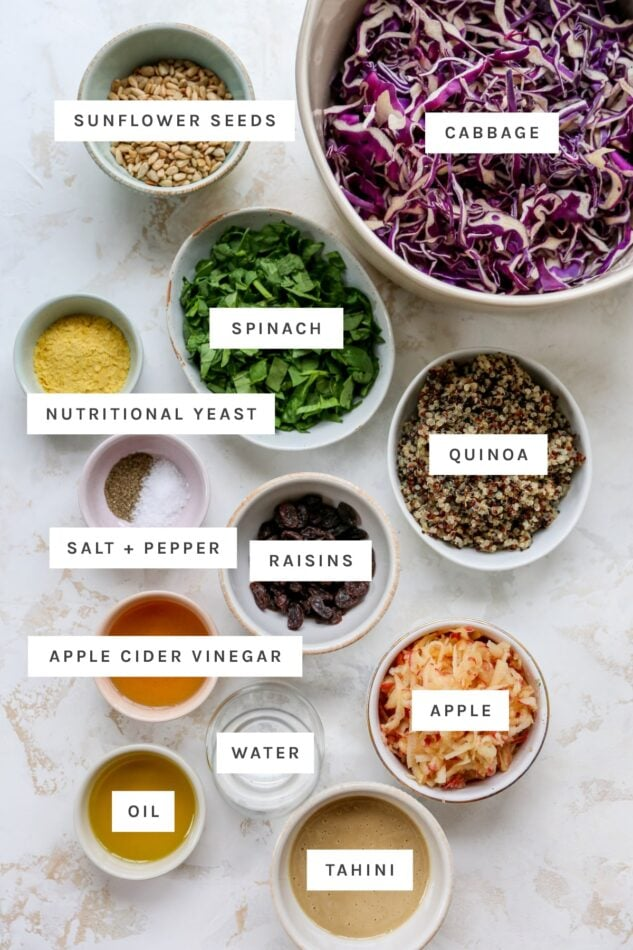 A labeled photos will ingredients for easy apple slaw